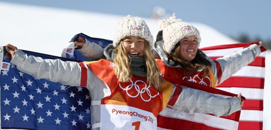 Chloe Kim and Arielle Gold celebrate their win. (Photo: Getty Images - Clive Rose)