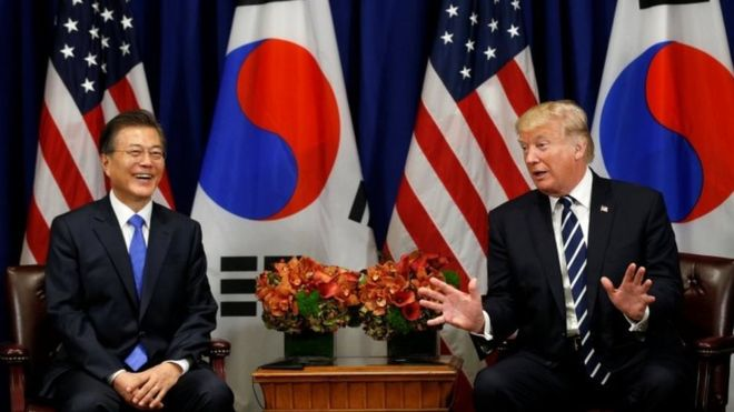 Donald Trump meeting with South Korean president.