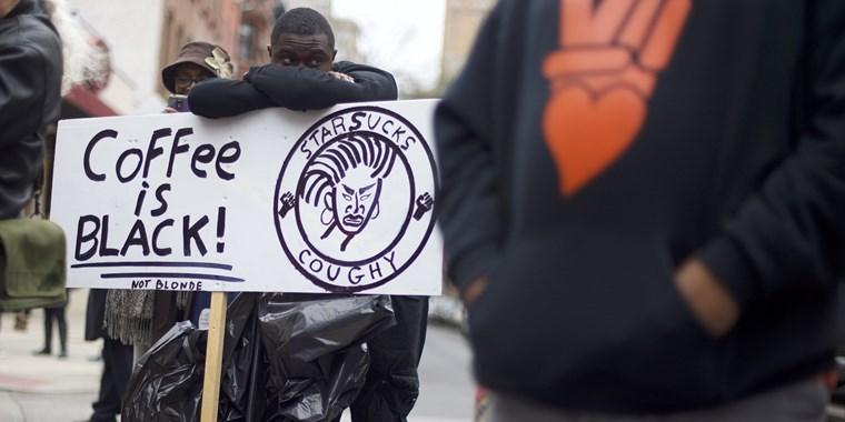Protester outside the Philadelphia Starbucks on Sunday, 4.15.18. (Photo: Mark Makela - Getty Images)