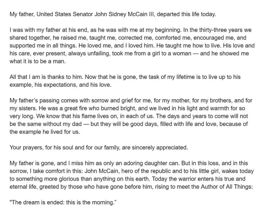 Megan McCain, Senator McCain's daughter, tweeting out about her father shortly after his death.