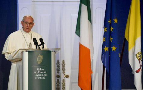 Pope Francis speaking to Irish officials in Dublin Ireland