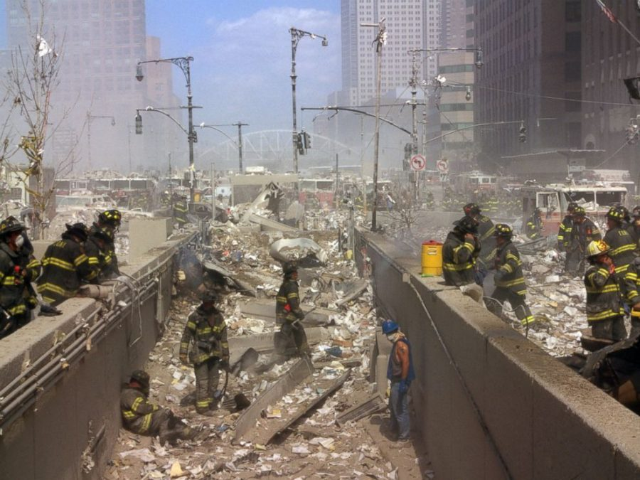 First Responders sorting through the wreckage during 9/11