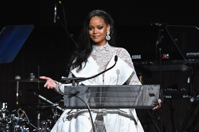 Rihanna speaking at her 4th Annual Diamond Ball benefitting The Clara Lionel Foundation at Cipriani Wall Street on September 13, 2018 in New York City
