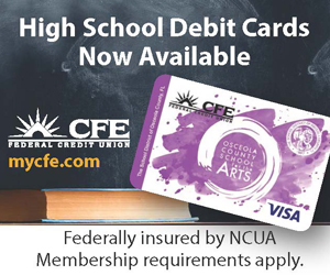 A web advertisement on the OCSA home page for the new debit card.