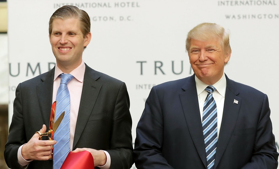President Trump pictured with his son at a ribbon cutting for Trump Tower.