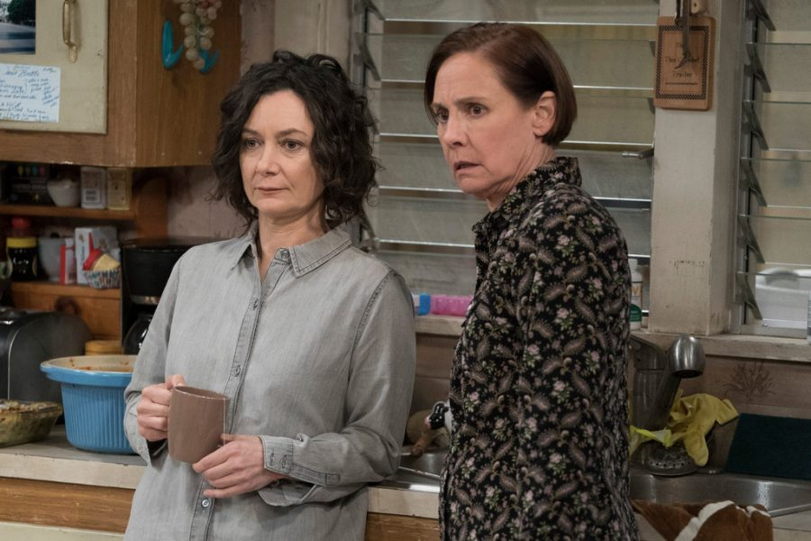 """Sara Gilbert, left, and Laurie Metcalf in """"The Conners,"""" ."""