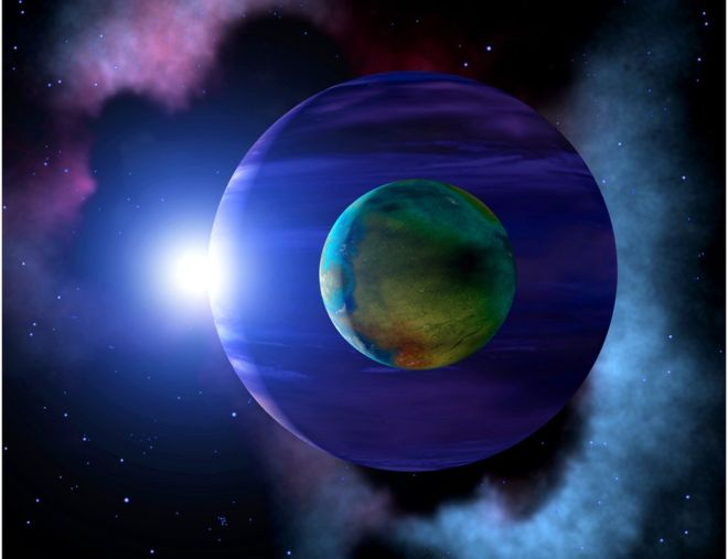 The Image of an exomoon orbiting an exoplanet.