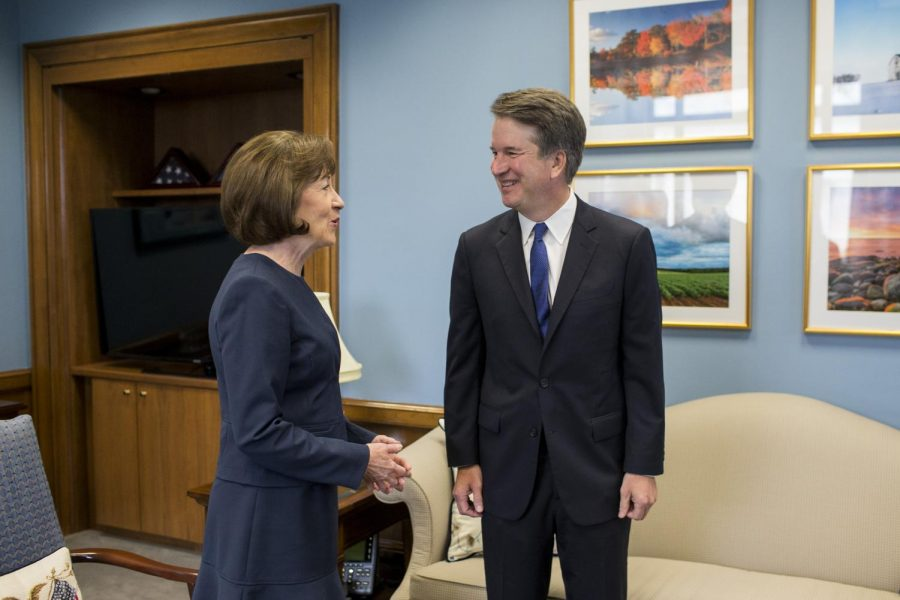 Senator+Susan+Collins+and+Judge+Brett+Kavanaugh+meeting+in+August.+