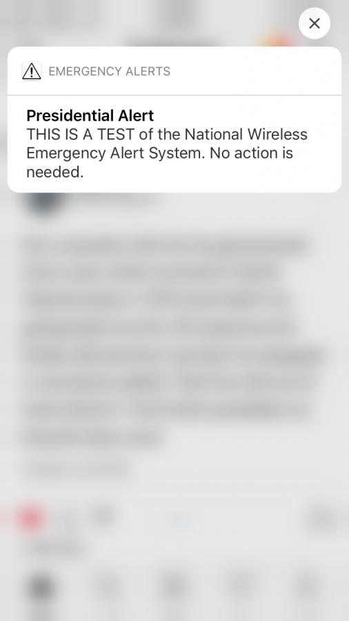 Presidential Alert sent out on October 3, 2018.