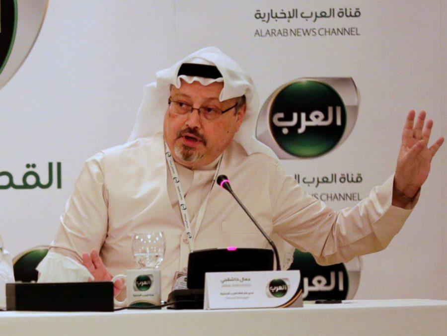 Jamal Khashoggi speaking at a press conference in 2014.