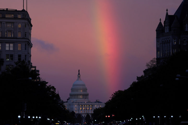 A+rainbow+over+the+United+States+Capitol+Building+on+election+day.+