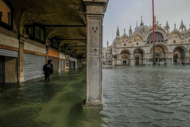 Piazza San Marco flooded in Venice, Italy