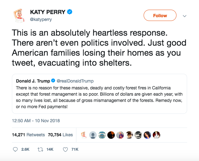 Katy Perry's tweet in response to Donald Trump's tweet about the California wildfires.