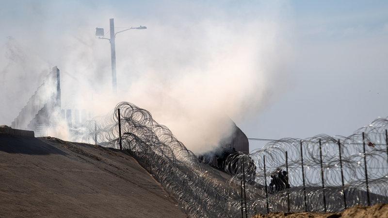 Tear gas at border.