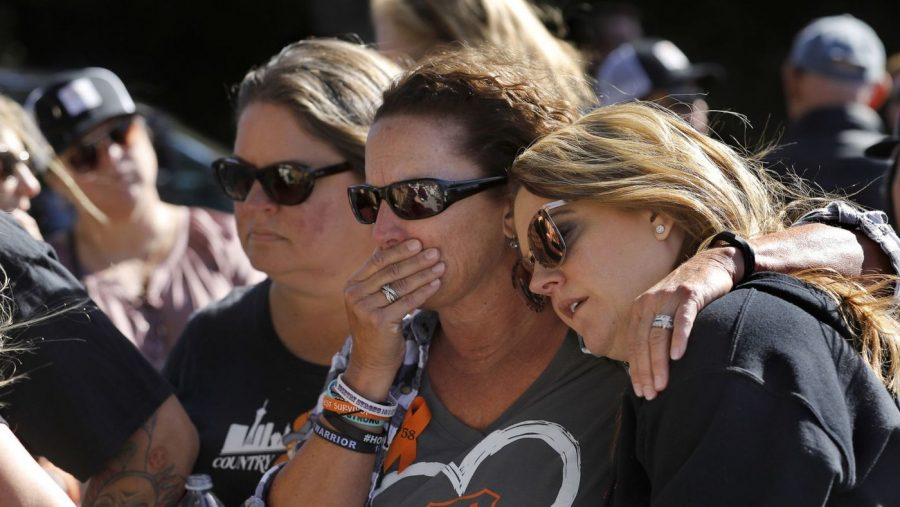 Three+survivors+of+the+2017+Las+Vegas+massacre+gathered+in+Thousand+Oaks+Nov.+11+for+a+memorial+for+the+victims+of+the+Borderline+Bar+and+Grill+shooting+in+that+community.+