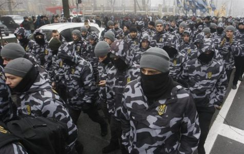 Ukrainian far-right group protesting for martial law.