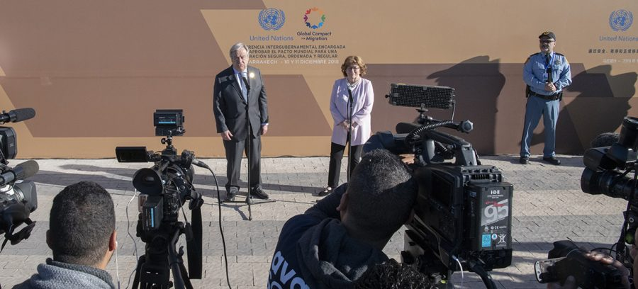 UN Secretary-General António Guterres and UN Special Representative for International Migration, Louise Arbour at the opening of Global Compact for Migration Conference in Marrakech, Morocco.