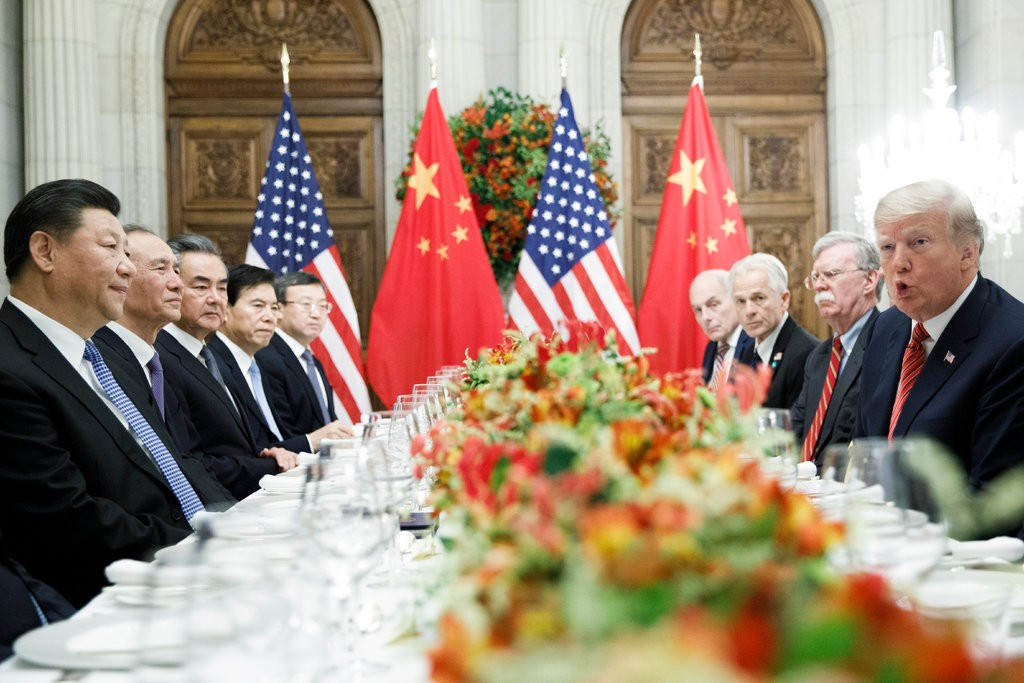 President Trump and President Xi Jinping of China at their working dinner in Buenos Aires on Saturday night.