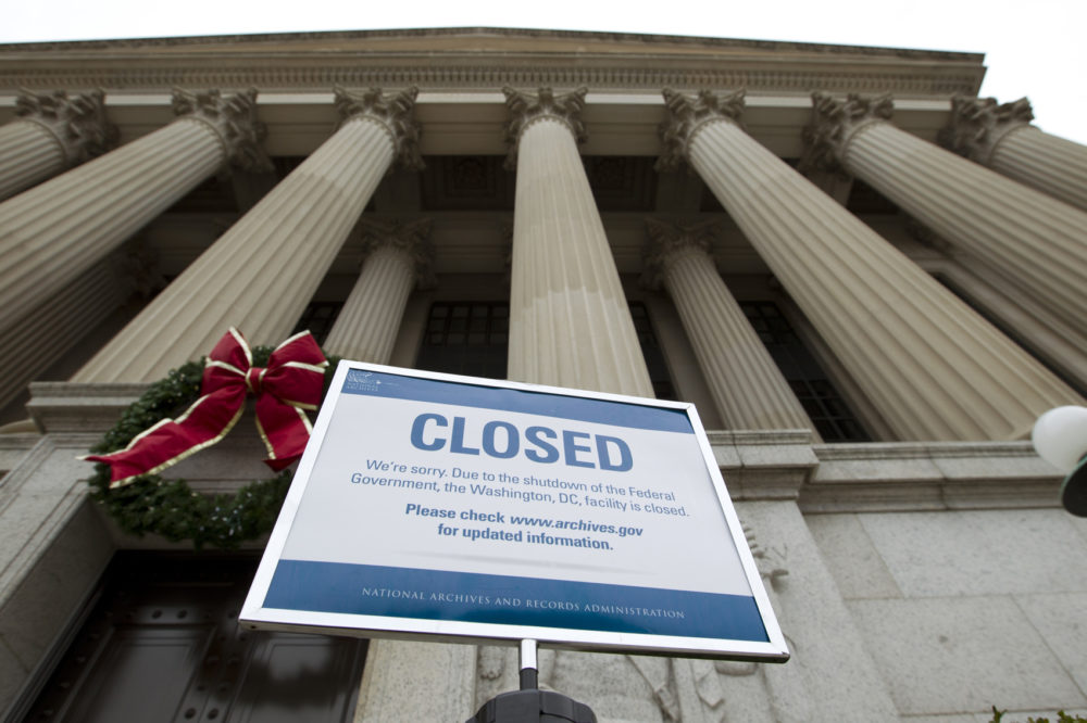 A closed sign in front of the National Archives in Washington, D.C. as the government shutdown stretches into the new year and it's third week.