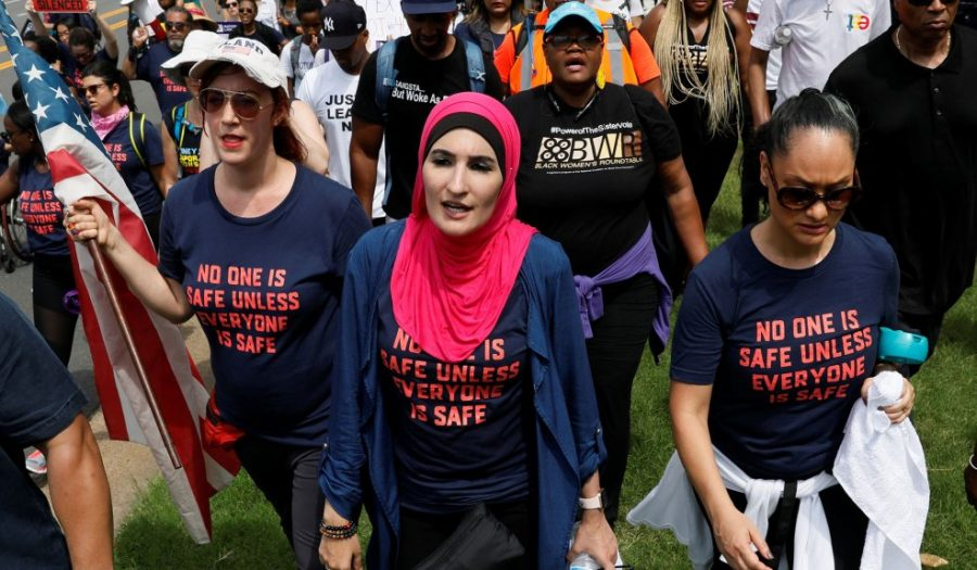Leaders of the Women's March Bob Bland (far left) and Linda Sarsour (center) protesting for gun control in Fairfax, Virginia in July.