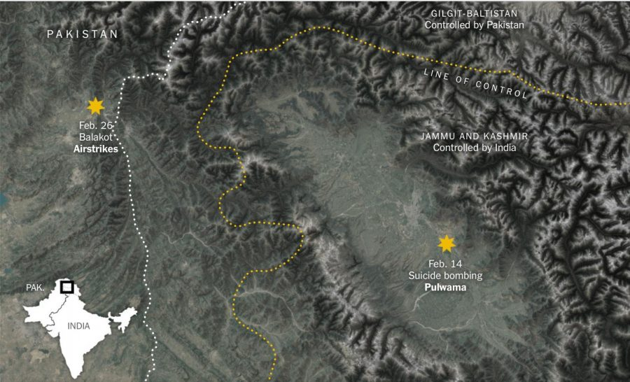 The sites of recent Pakistan-India skirmishes.