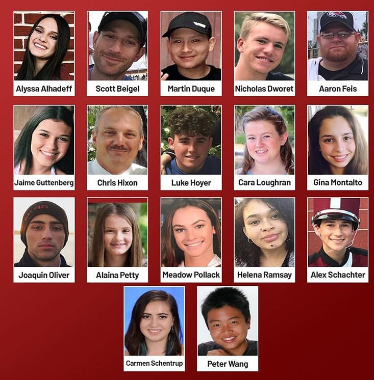 Victims of the Parkland shooting.