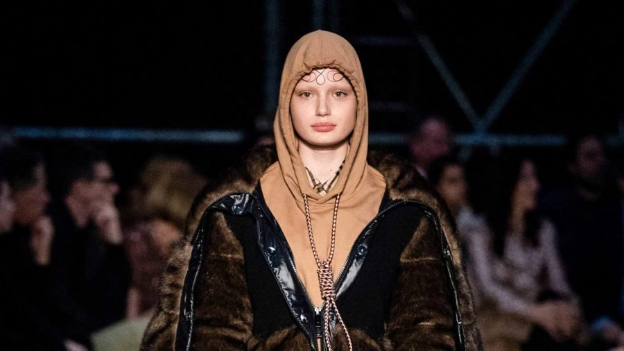 Hoodie that features a noose around the neck at London Fashion Week.