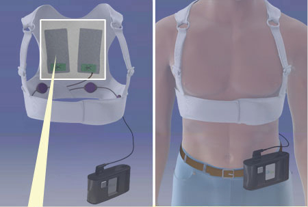 A wearable defibrillator, called the LifeVest, is created to help those who's hearts often stop on them.