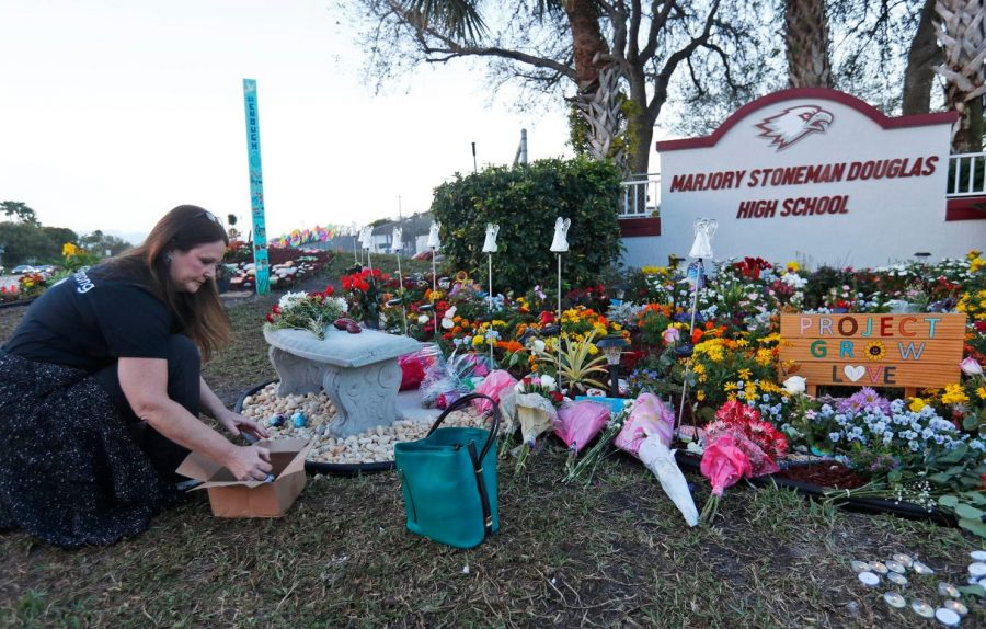 The memorial for the victims of the Marjory Stoneman Douglas School shooting.