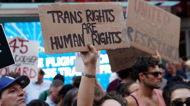 Protesters against Trump's transgender military ban.