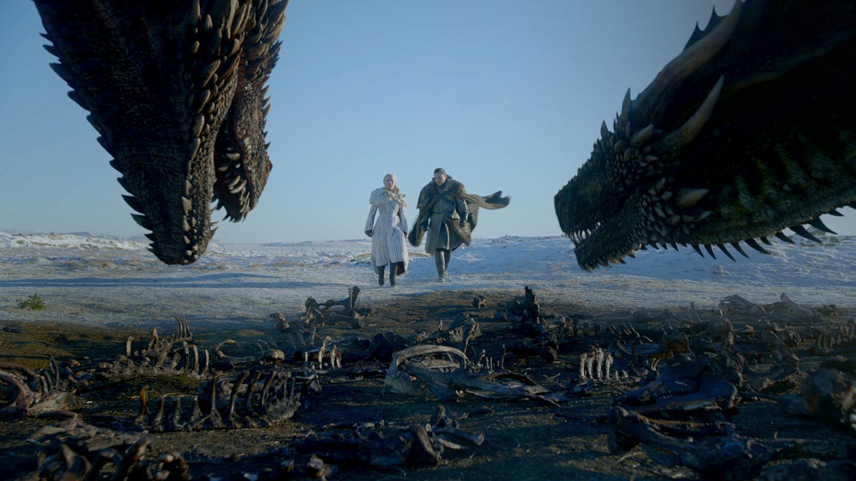Daenarys Targaryen and Drogon (left), Jon Snow and Rhaegal (right).