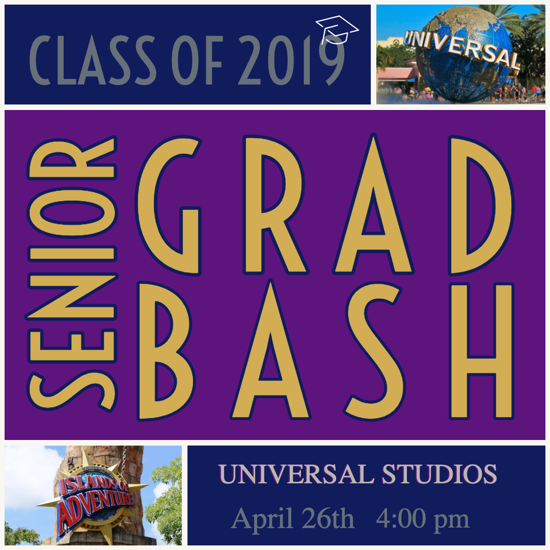 OCSA and Universal Studio's 2019 Senior GradBash, Friday, April 26th!