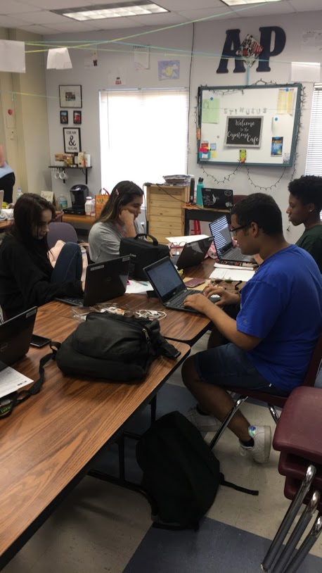 AP Research 6th period class, working on research papers.