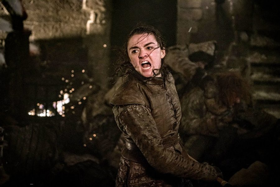 Arya Stark (Maisie Williams) fighting wights in Winterfell during the battle.