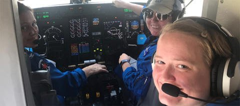 Capt. Kristie Twining, Cmdr. Rebecca Waddington, and Lt. Lindsey Norman made history when they flew into Hurricane Dorian. (NOAA/Twitter)