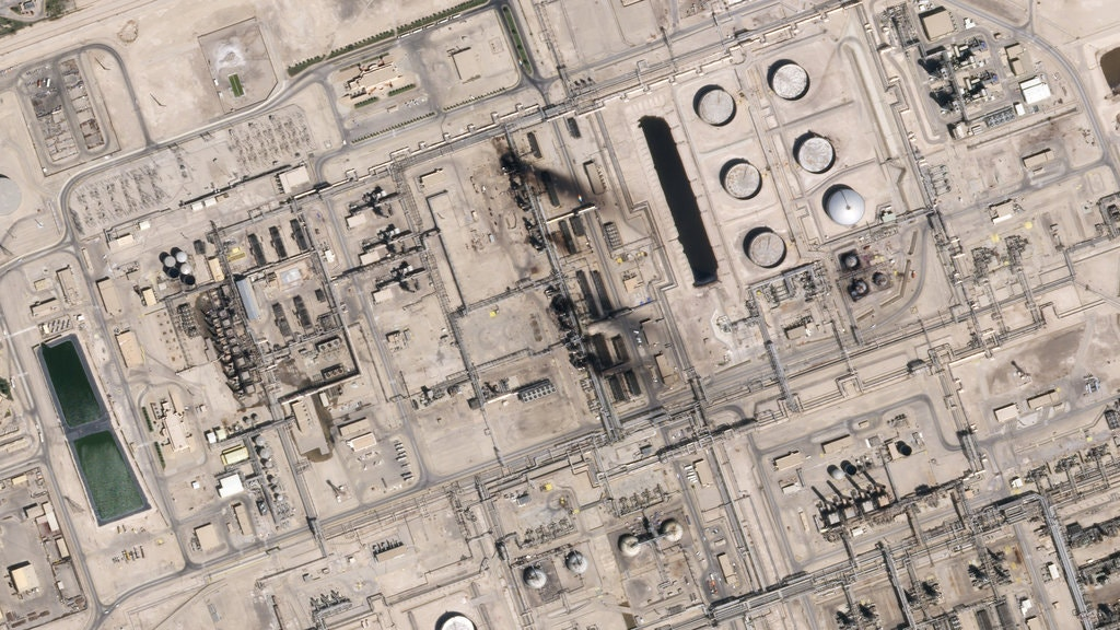 A satellite image of the oil refinery in Abquiaq, Saudi Arabia after the airstrike.