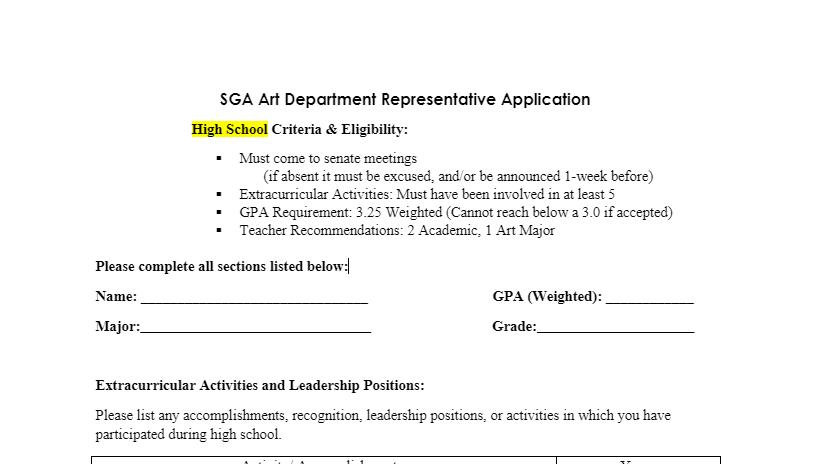 SGA Representative Applications Now Open!