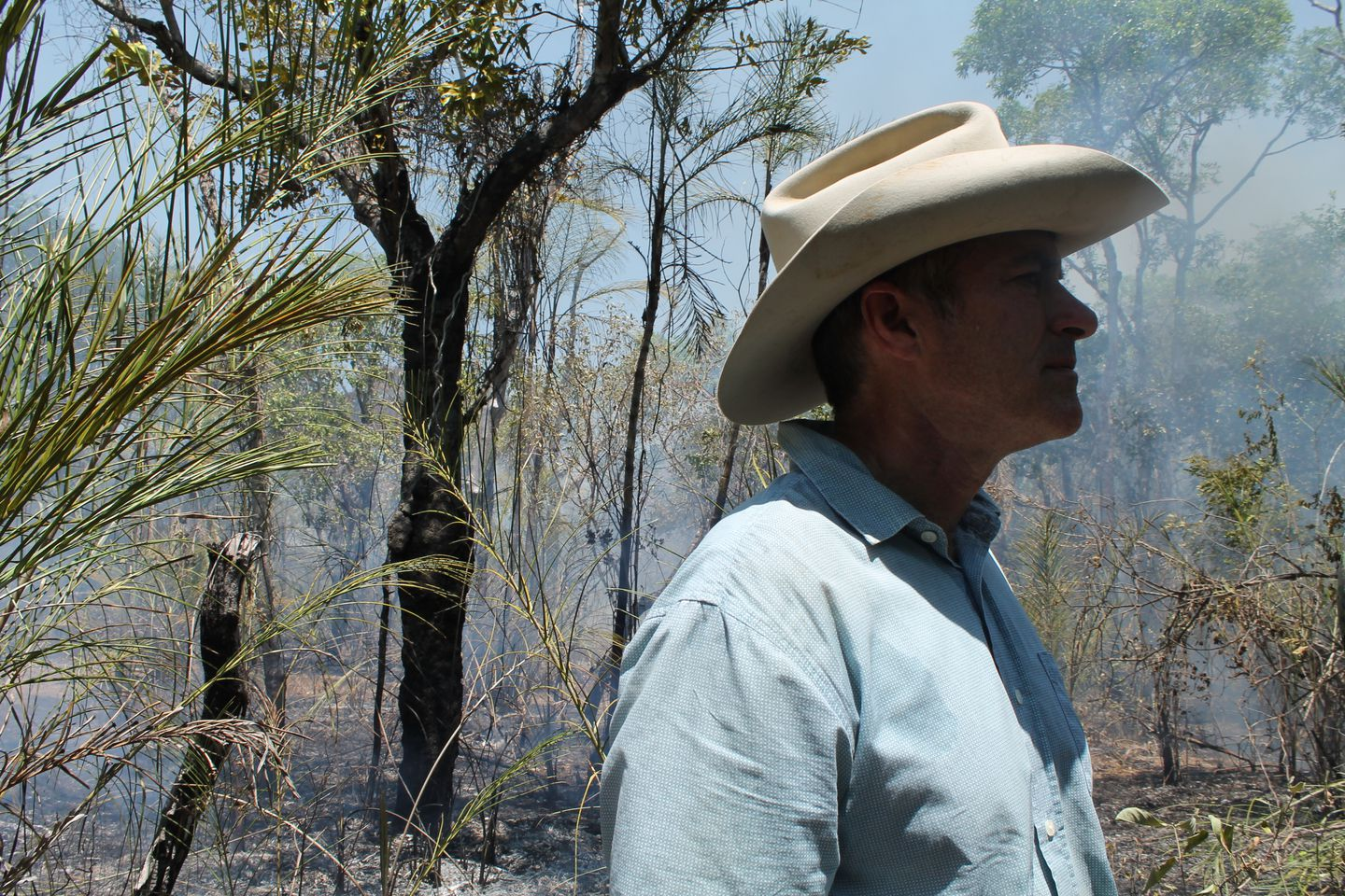 John Carter, former U.S. paratrooper, and leader of Brazil's Alliance Brigade, tracking down fires in Matto Grosso, Brazil.