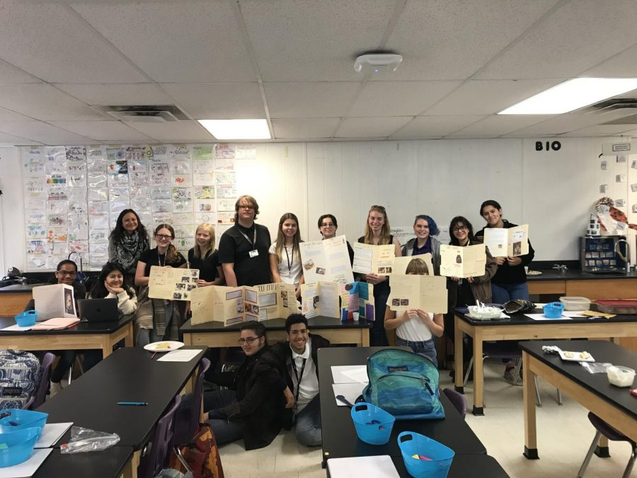 Class picture of Ms. Smith's AP Bio class during their Fermentation Food Fair.
