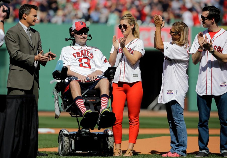 Pete Frates and his wife, Julie, at a Boston Red Sox game in 2015. He helped raise more than $100 million toward fighting amyotrophic lateral sclerosis, a disease he learned he had in 2012.Credit...Elise Amendola/Associated Press