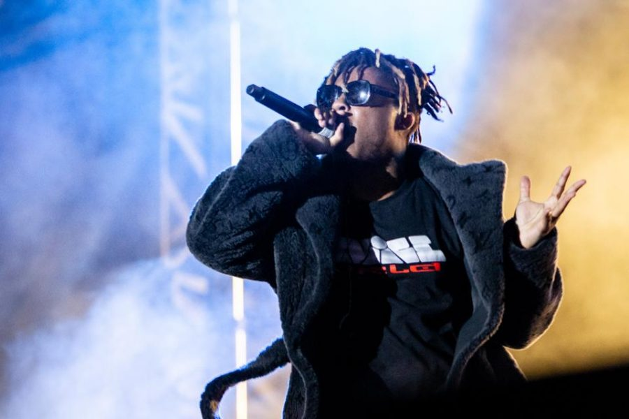 Juice Wrld performs at Rolling Loud festival at Oakland-Alameda County Coliseum on September 29, 2019 in Oakland, California.