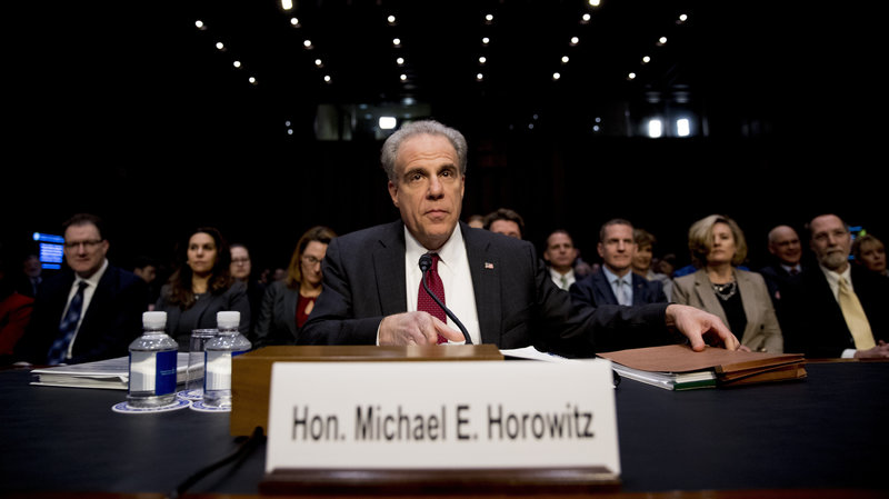 Department of Justice Inspector General Michael Horowitz reporting on the 2016 presidential election.