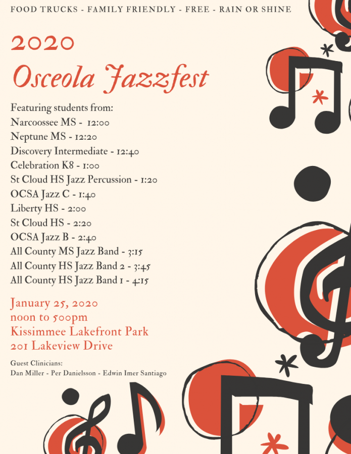 Flyer for all county jazz concert