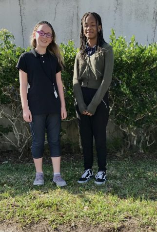 (Left to Right) Sabrina Glow and Raquel Perry winners of the MLK poetry and essay competitions.
