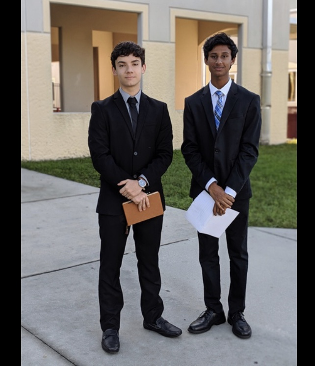 Two members of the OCSA Congressional Debate Team: Walter Arias (left) and Rajendra Indar (right). Rajendra will be competing in the State Congress Finals.