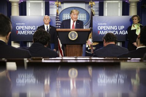 Trump speaking at the White House daily briefing