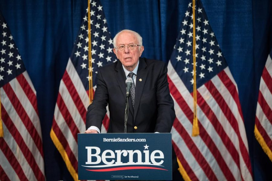 Democratic presidential candidate Sen. Bernie Sanders (I-VT) delivers a campaign at the Hotel Vermont on March 11, 2020