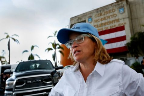 San Juan Mayor Carmen Yulin Cruz after Hurricane Maria. The island still has yet to recover from the 2017 hurricane, and has been hit by more than 1,000 earthquakes since December 2019.