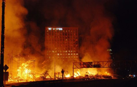 A blaze sparked at a construction site around 1:20 a.m. in Los Angeles, California.