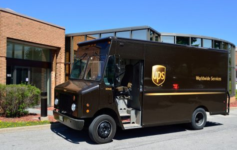A UPS delivery truck.